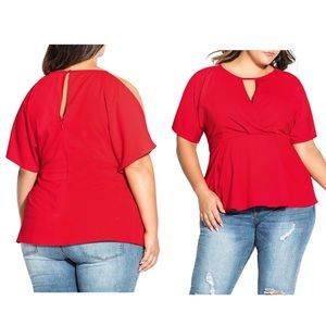 City Chic Red Cold Shoulder Keyhole Peplum Blouse